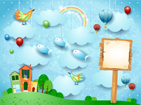 Surreal landscape with town, sign, birds and flying fisches. Vector illustration eps10  イラスト・ベクター素材