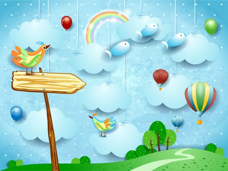 Surreal landscape with arrow sign, balloons, birds and flying fisches. Vector illustration eps10  イラスト・ベクター素材
