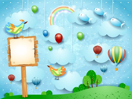Fantasy landscape with balloons, birds, sign and flying fisches. Vector illustration eps10 Illustration