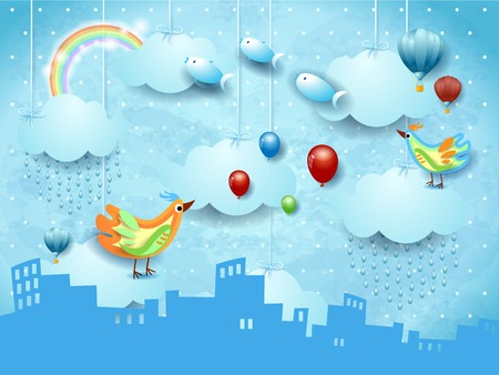 Surreal landscape with skyline, rain, ballons, birds and flying fisches. Vector illustration eps10