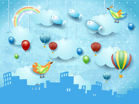 Surreal landscape with skyline, balloons, birds and flying fisches. Vector illustration eps10 Illustration