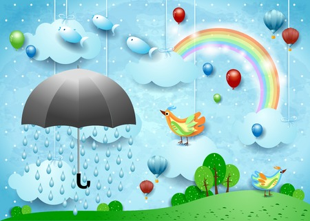 Surreal landscape with umbrella, balloons, birds and flying fishes. Vector illustration