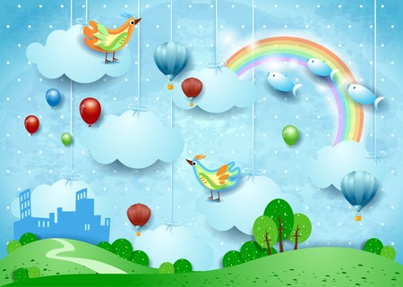 Fantasy landscape with small city, balloons, birds and flying fisches. Vector illustration eps10