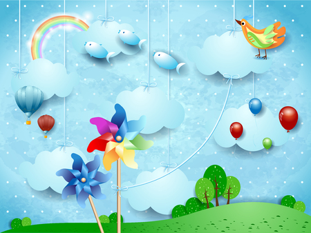 Surreal landscape with hanging pinwheels, balloons, birds and flying fishes. Vector illustration eps10 Illustration