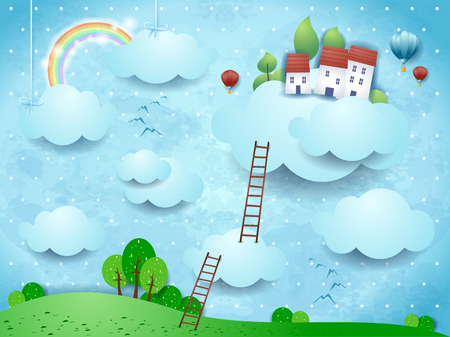 Fantasy landscape with clouds, village and stairways. Vector illustration eps10 Çizim