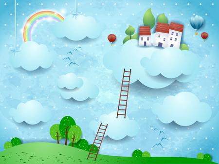 Paisaje de fantasía con nubes, pueblo y escaleras. Ilustración vectorial eps10