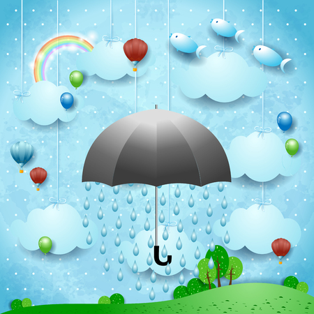 Fantasy landscape with umbrella, rain, balloons and flying fishes. Vector illustration eps10 Ilustração