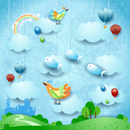 Surreal landscape with skyline, balloons, birds and flying fisches. Vector illustration eps10 Ilustração