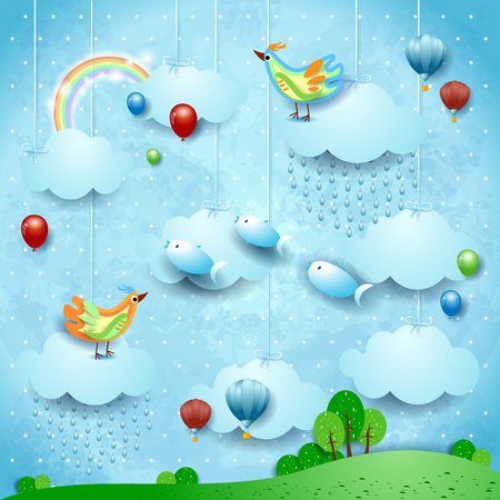Fantasy landscape with rain, balloons, birds and flying fisches. Vector illustration eps10