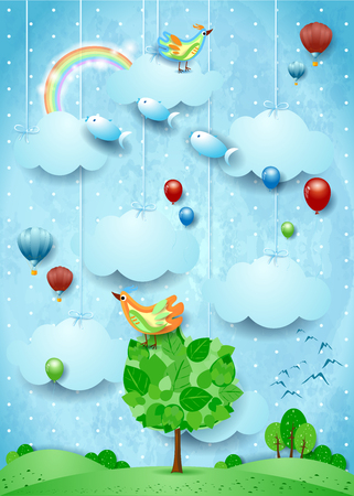 Surreal landscape with big tree, birds, balloons and flying fisches. Vector illustration eps10 Illustration