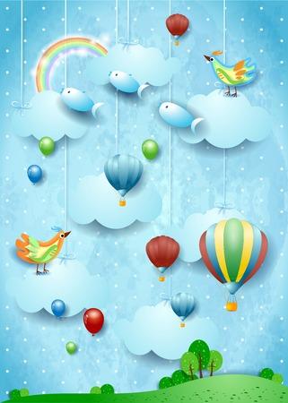 Fantasy landscape with balloons, bird and flying fisches. Vector illustration eps10 Ilustração