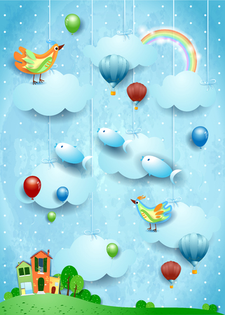 Surreal landscape with village, birds, balloons and flying fisches. Vector illustration eps10 스톡 콘텐츠 - 124850918