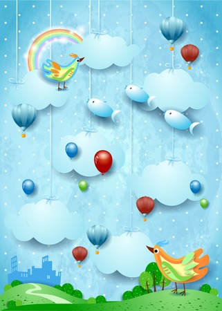 Fantasy landscape with skyline, birds, balloons and flying fisches. Vector illustration eps10 Ilustração