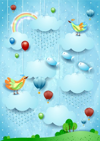 Fantasy landscape with rain, birds, balloons and flying fisches. Vector illustration eps10