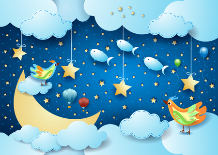 Surreal night with big moon, birds, balloons and flying fisches. Vector illustration eps10