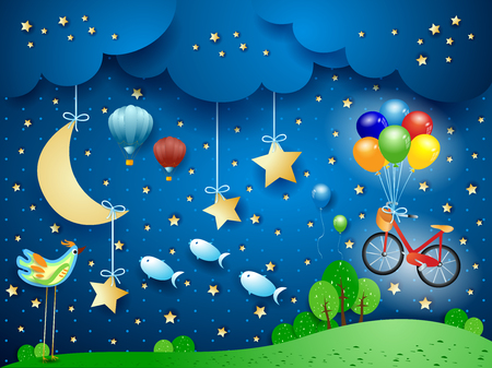 Surreal night with moon, hanging bike, balloons, birds and flying fisches. Vector illustration eps10 Ilustração