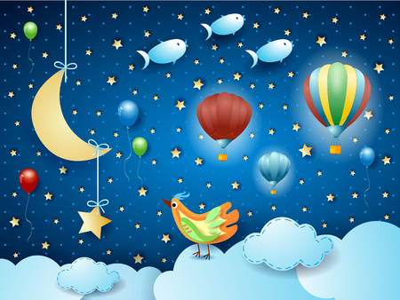 Surreal night with balloons, birds, crescent moon and flying fisches. Vector illustration eps10 Ilustração