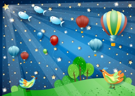 Notte surreale con mongolfiere, faretti, uccelli e pesci volanti. Illustrazione vettoriale eps10