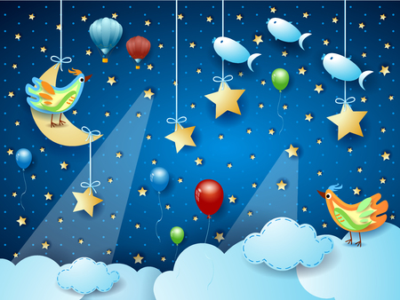 Surreal night with hanging moon, spotlights, bird, balloons and flying fishes. Vector illustration eps10