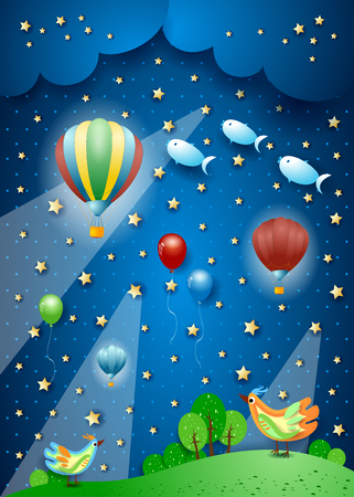 Surreal night with balloons, spotlights, birds and flying fishes. Vector illustration eps10