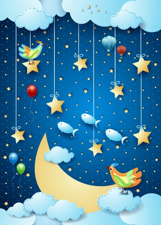 Surreal night with big moon, birds, balloons and flying fishes. Vector illustration eps10