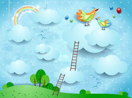 Paisaje de fantasía con escaleras y pájaros sobre las nubes. Ilustración vectorial eps10
