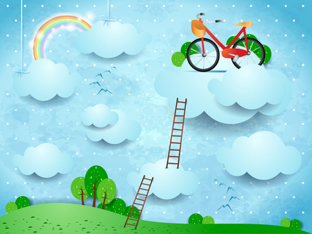 Fantasy landscape with stairways and bike over the clouds, vector illustration eps10