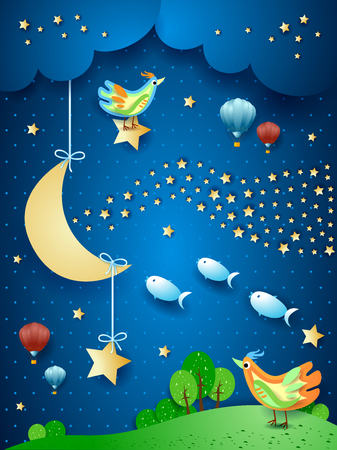 Surreal night with moon, wave of stars, birds, balloons and flying fishes. Vector illustration