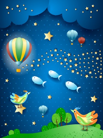 Surreal night with balloon, wave of stars, birds and flying fishes. Vector illustration