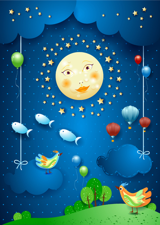 Surreal night with moonlight, birds, balloons and flying fishes. Vector illustration eps10 Ilustração