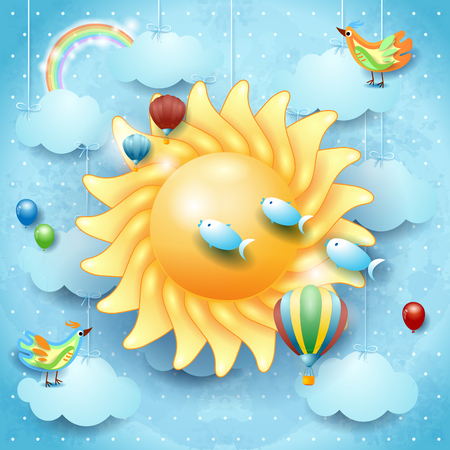 Surreal sky with big sun, bird, balloons and flying fish. Vector illustration eps10