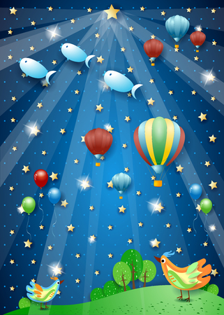Surreal nigth with spotlight, balloons, birds and flying fishes. Vector illustration eps10