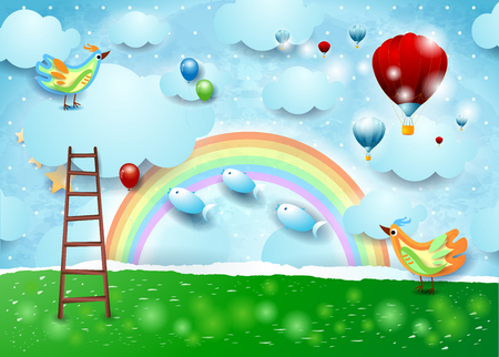 Paper landscape with balloons, birds, stairway and flying fishes. Vector illustration eps10