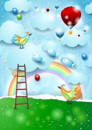 Paper landscape with stairway, balloons, birds and flying fishes. Vector illustration eps10
