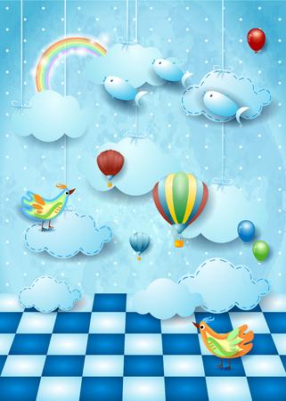 Paisaje surrealista con espacio, nubes, globos, pájaros y peces voladores. Ilustración vectorial eps10