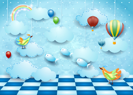 Surreal landscape with room, clouds, ballons, birds and flying fishes. Vector illustration eps10