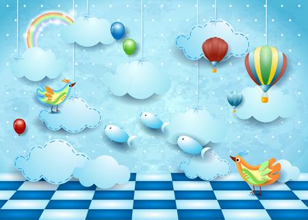 Surreal landscape with room, clouds, ballons, birds and flying fishes. Vector illustration eps10 Ilustração Vetorial
