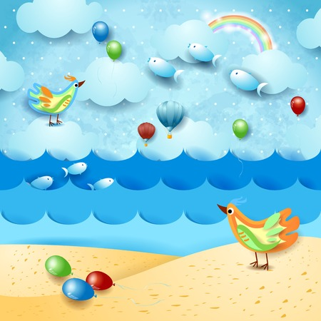 Surreal seascape with balloons, birds and flying fishes. Vector illustration