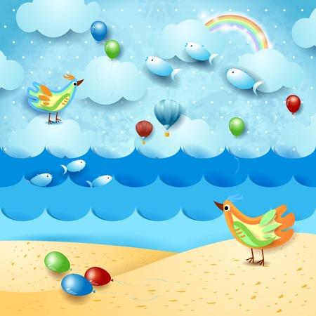 Surrealistisch zeegezicht met ballonnen, vogels en vliegende vissen. vector illustratie