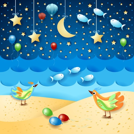Surreal seascape by night with balloons, birds and flying fishes. Vector illustration