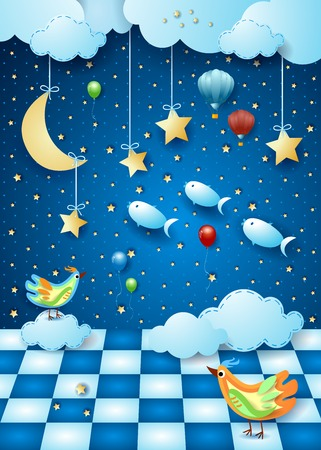 Surreal night with moon, room, balloons, birds and flying fishes. Vector illustration eps10 Illustration