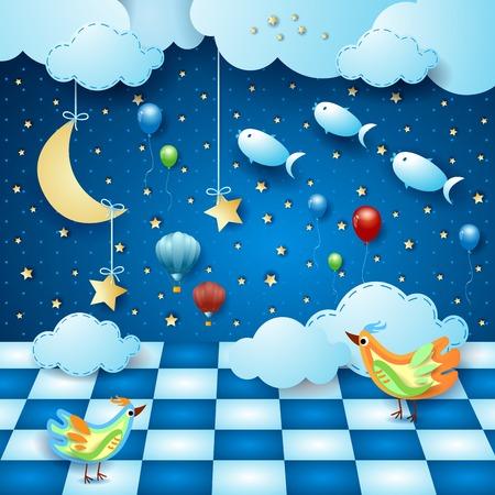 Noche surrealista con habitación, luna, globos, pájaros y peces voladores. Ilustración vectorial eps10
