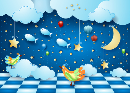 Surreal night with room, moon, balloons, birds and flying fishes. Vector illustration eps10 Illustration
