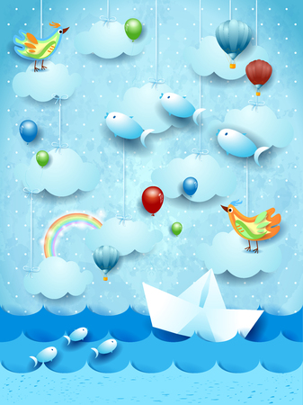 Surreal seascape with paper boat, balloons, birds and flying fishes. Vector illustration eps10