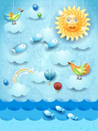 Paisaje marino surrealista con gran sol, globos, pájaros y peces voladores. Ilustración vectorial eps10
