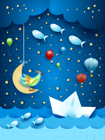 Surreal seascape by night, with paper boat and flying fishes. Vector illustration eps10 Çizim