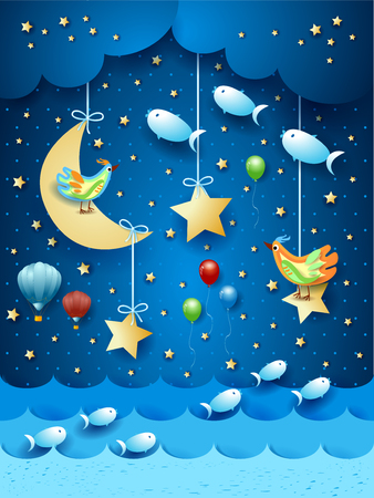 Surreal seascape by night with balloons, birds and flyingh fishes. Vector illustration eps10