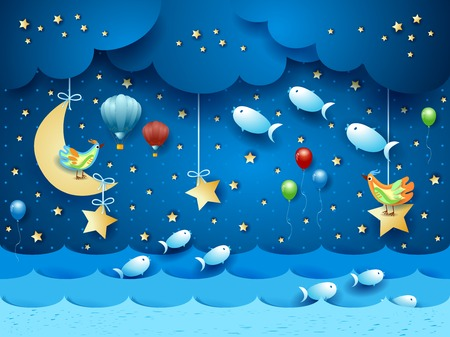 Surreal seascape by night with balloons, birds and flying fishes. Vector illustration eps10