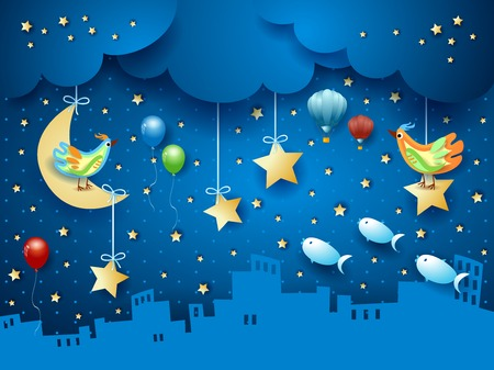 Surreal night with skyline, birds, balloons and flying fishes. Vector illustration