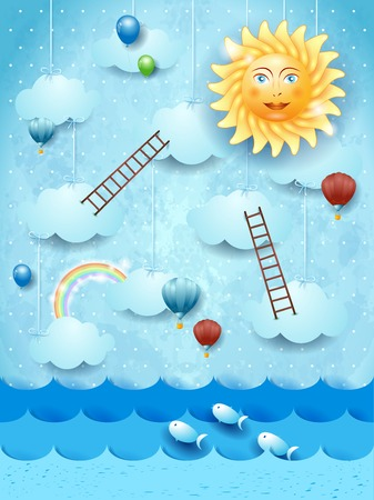 Surreal seascape with stairways, sun and balloons. Vector illustration eps10 Ilustração
